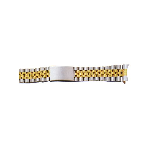 18Mm Two-Tone Yellow/White Metal Watch Band With Curved End front-634806