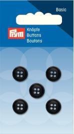Knopf 4-Loch, Hemden 11 mm, schwarz, 5 Stück