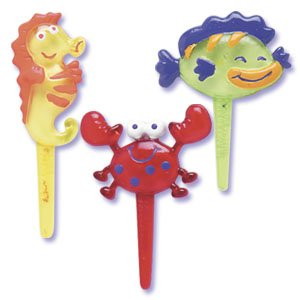 12 pc Sea Creature Puffy Cupcake Cake Picks - 1