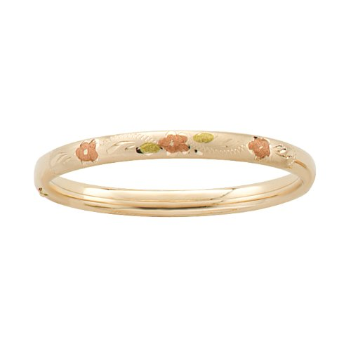 14k Yellow Gold Filled Children's Hand Engraved Tri-Color Guard and Hinge Bangle Bracelet