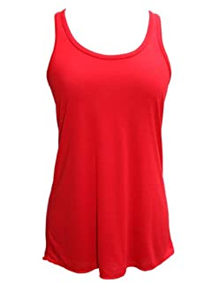 YogaColors Womens Emoticon Flowy Scoop Neck Tank Top (Large, Red)