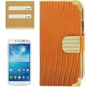 High Quality Lizard Texture Diamond Button Horizontal Flip Leather Case with Credit Card Slots for Samsung Galaxy S IV / i9500(Orange)