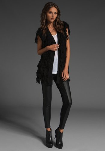 544a500e3dd36 Half-and-half leggings with faux leather on the outer (side) and plain  black on inner (side)