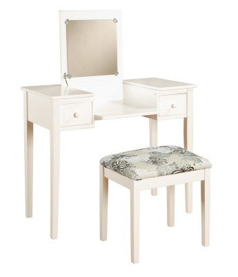 Linon Home Decor Vanity Set Butterfly Bench, White