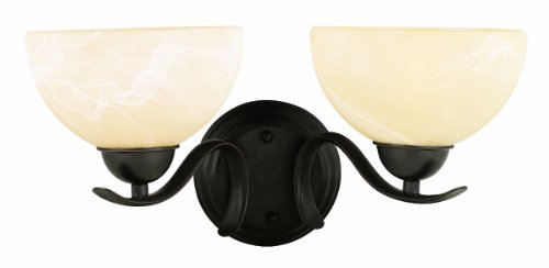 Design House 517458 Trevie 2 Light Wall Mount Lighting Fixture, Oil Rubbed Bronze Finish with Alabaster Glass