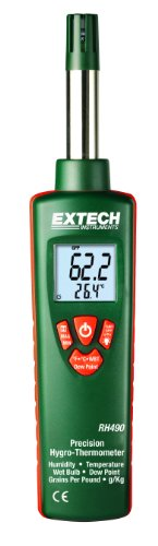 Extech RH490 Precision Hygro-Thermometer with 2% Relative Humidity Accuracy and Grains Per Pound (GPP) Display