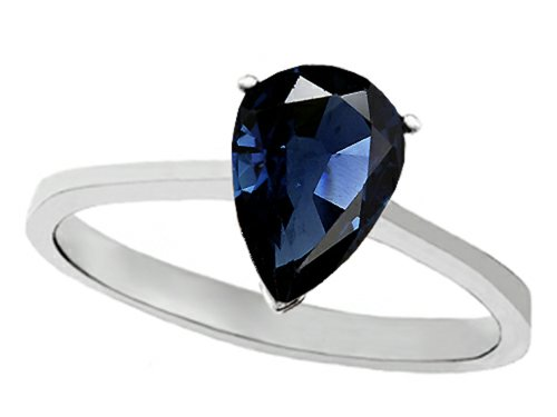 Tommaso Design Genuine Sapphire Pear Shape 8X6Mm Solitaire Engagement Ring 14K Size 6