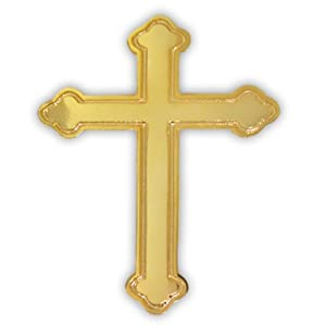 Gold Ornate Cross Religious Lapel Pin