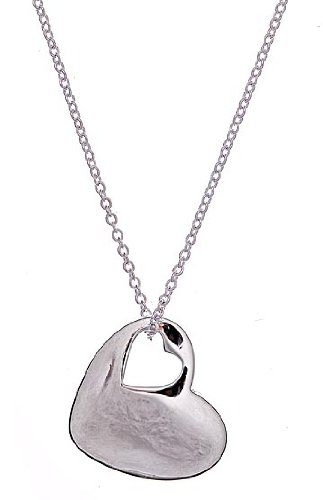 Designer Inspired Sterling Silver Two Hearts Pendant Necklace 18