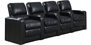 SeatCraft Barcelona Manual Theater Seating with Manual Recline, Row of 4, Black