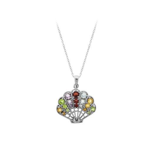 Sterling Silver Multi-Gemstone Fan Pendant Necklace, 18