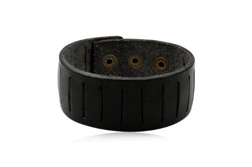 Fashion Black Leather Wrap Cuff Rasta Bracelet Men's Jewelry