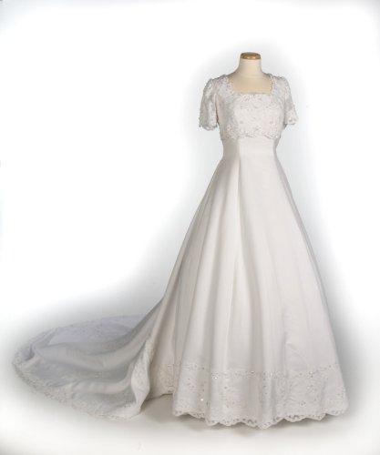 White Cap Sleeve Satin Wedding Gown