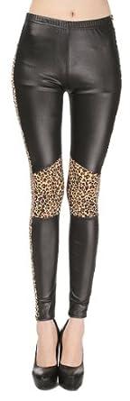 Women's Animal Leather Leopard Pattern Ankle Length Footless Legging