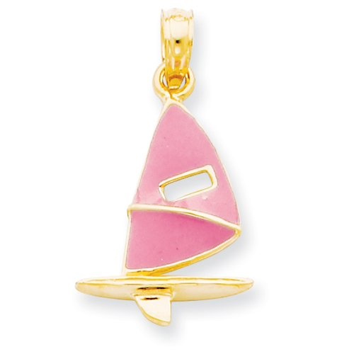 14k Gold Pink Enameled Wind Sail Surfing Board Pendant