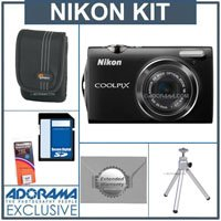 Nikon Coolpix S5100 Digital Camera Kit - Black - with 8GB SD Memory Card, Camera Case, Table Top Tripod, Spare Rechargeable Li-ion Battery EN-EL10, 2 Year Extended Service Coverage