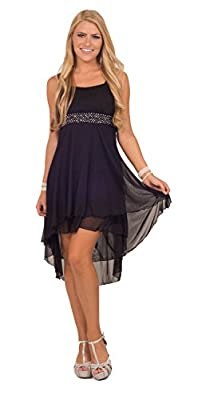 Womens Cocktail Formal Chiffon Beaded Sweetheart Sleeveless High Low Dress