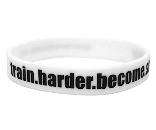 Fitness & Bodybuilding Braccialetto train.harder.become.stronger Bianco Unisex Formazione Crossfit Silicone Sport Motivatione Lifestyle Palestra