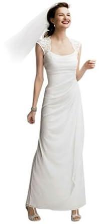 Lace Cap Sleeve Long Matte Mesh Wedding Dress Ivory, 2