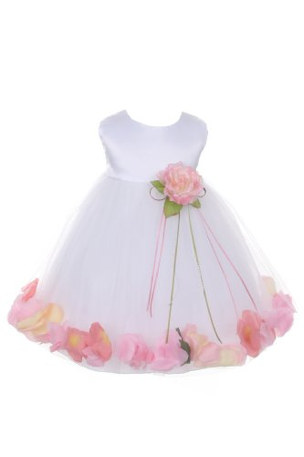 Satin Bodice Flower Baby Girl Pageant Petal Dress: White/Babypink - Infant M