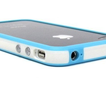 White and Blue Premium Bumper Case for Apple iPhone 4 - AT&T