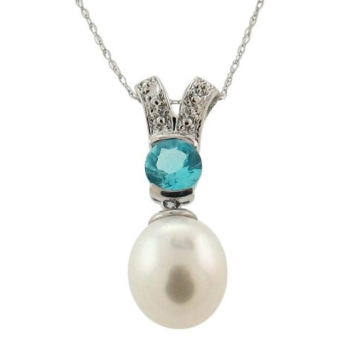14k White Gold White Freshwater Pearl and Blue Topaz Necklace (8-9 mm)