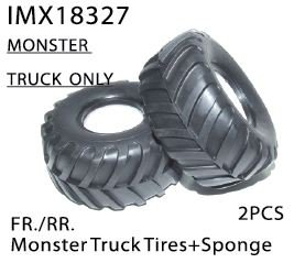 IMX18327 Monster Truck Tires (Fr/Rr) and Sponge (Imex Tires compare prices)