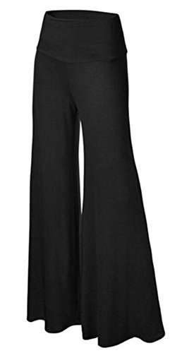 SL Women's Soft Wide Leg Palazzo Pants with High Fold Over Waist Band Black 2XL (Wide Leg Pajama Pants compare prices)