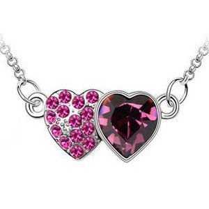 Double Heart of Ocean Swarovski Crystal Necklace Platinum Plated Chains for Wedding/engagement/birthday (Purple)