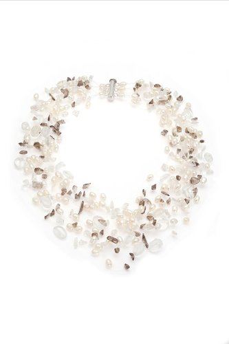 Fourteen-strand Freshwater Pearl Choker Style Necklace with Quartz Chips and a Sterling Silver Barrel Clasp