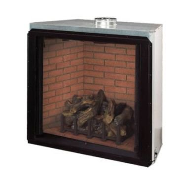 36 lp direct vent fireplace with stacked red refractory