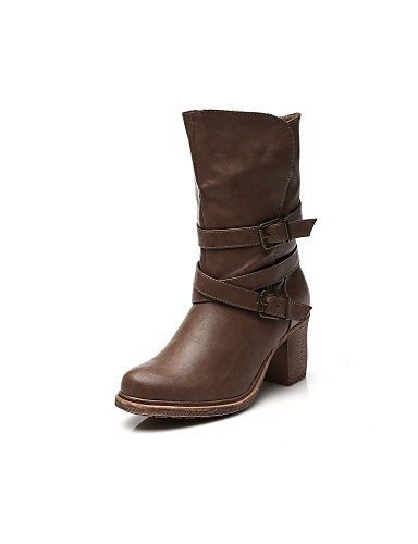 Gll&Xuezi Scarpe Donna - Stivali - Tempo libero / Casual - Anfibi / Stivali da biker - Quadrato - Similpelle - Marrone , brown-us8 / eu39 / uk6 / cn39 , brown-us8 / eu39 / uk6 / cn39