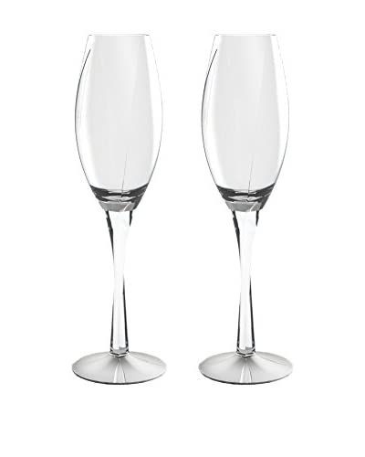 Nambe Crystal Set of 2 Twist 6-Oz. Flutes, Clear