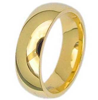6MM High Polished Stainless Steel Gold Plated Wedding Band