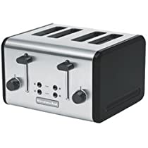 Hot Sale KitchenAid KMTT400OB 4-Slice Metal Toaster, Onyx Black and Stainless Steel