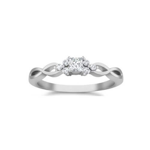 0.58 Carat Princess Cut Diamond Cheap Affordable Diamond Engagement Ring 10K White Gold