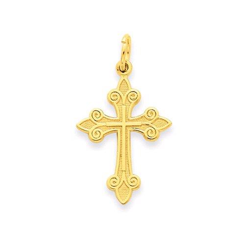 14K Yellow Gold Fleur-De-Lis Cross