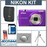Nikon Coolpix S5100 Digital Camera Kit - Purple - with 8GB SD Memory Card, Camera Case, Table Top Tripod, Spare Rechargeable Li-ion Battery EN-EL10, 2 Year Extended Service Coverage
