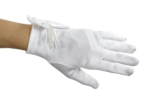 Be Mine Satin Dream Gloves with Pearly Bow