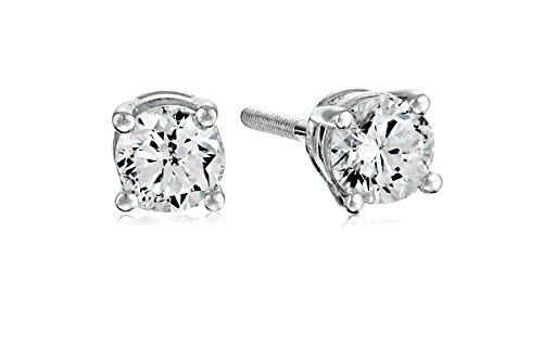 14k White Gold Diamond Earrings with Screw Backs (1/2 cttw, J-K Color, I2-I3 Clarity) (Ring Diamond White Gold compare prices)