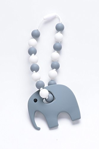 Baby Carrier Silicone Teether with Elephant (Grey/White)