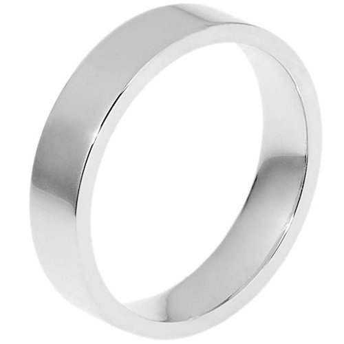 10K White Gold, Flat Style 5MM Wedding Band (sz 9)