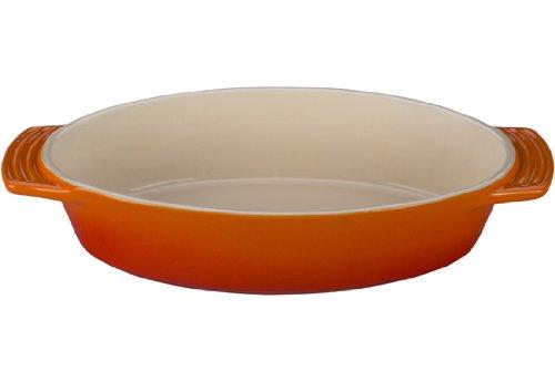 Le Creuset Stoneware Oval Dish, 1-3/4-Quart, Flame