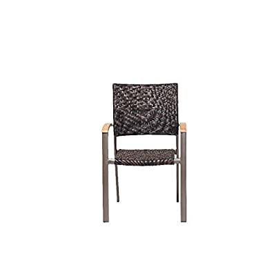 Siena Garden 120173 Stapelsessel Aros Aluminium-Gestell bronze Gardino®-Geflecht maron Armlehnen Teak FSC® 100% von Siena Garden - Gartenmöbel von Du und Dein Garten