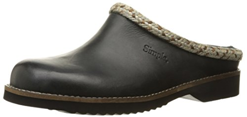 Simple Women's Hallie Mule, Black Leather, 6.5 M US