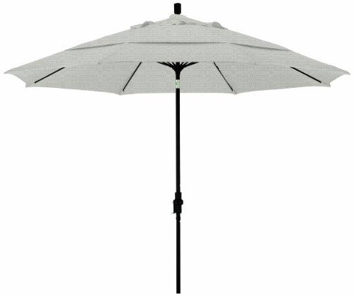 California Umbrella 11-Feet Olefin Fabric Fiberglass Rib Crank Lift Collar Tilt Aluminum Market Umbrella with Black Pole, Woven Granite
