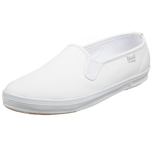 Keds Women's Champion Leather Slip On,White,7.5 M