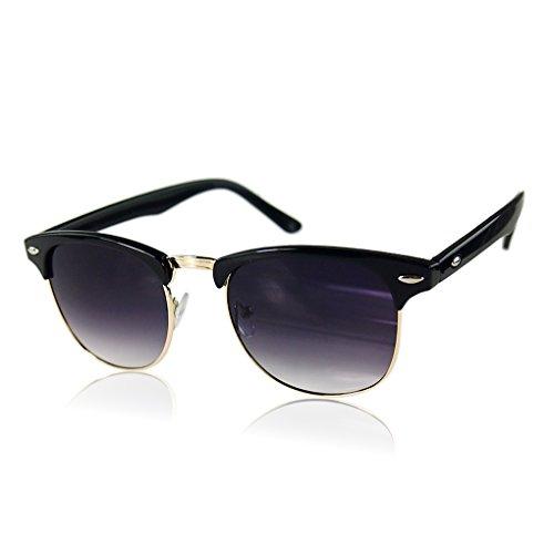 Vintage Fashion Retro Half Frame Semi-Rimless UV400 Oversized Sunglasses Bright Black+Gold