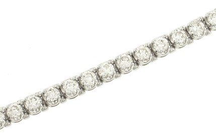 Ladies 4 prg Round U Design Diamond Bracelet