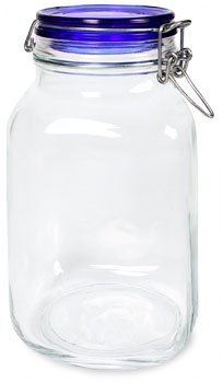 Bormioli Rocco Fido Square Jar with Blue Lid 67-3 4-OunceB0000CFU9D : image